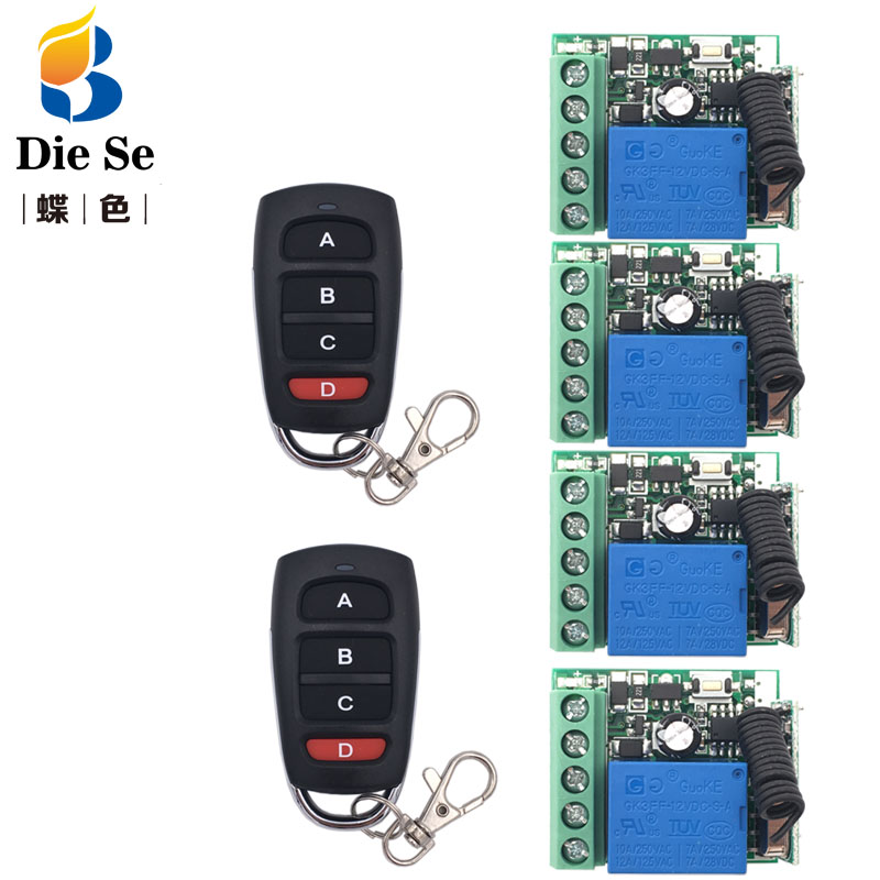 433MHz Universal Remote Control DC 12V 1CH rf Relay Receiver and Transmitter for Universal Light Control and Remote Bulb Control image