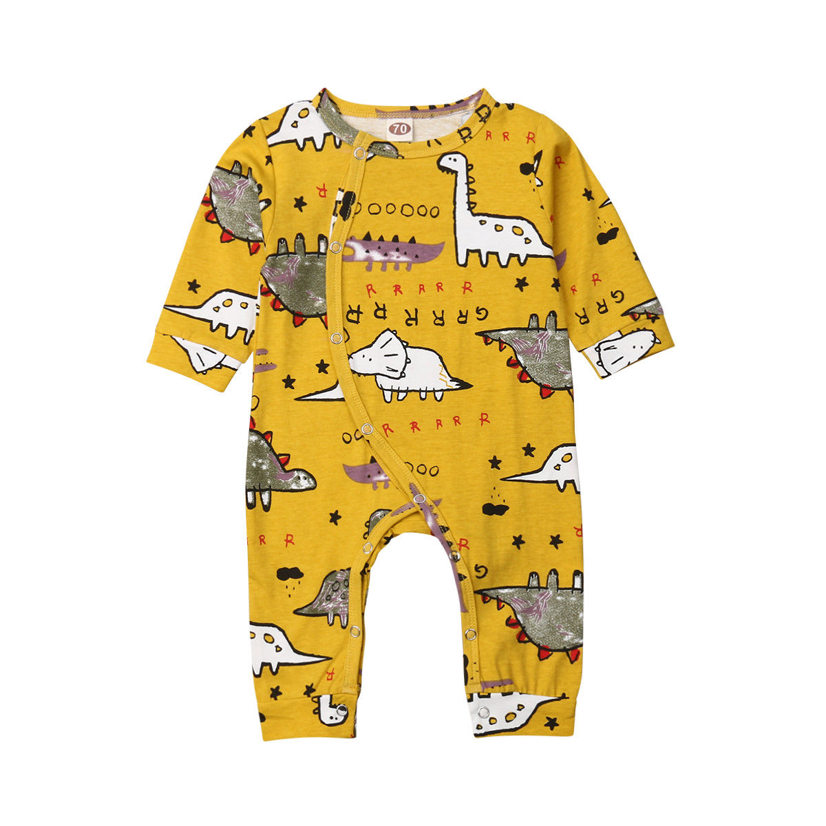 0-18 M Infant Neugeborenen Baby Junge Mädchen Langarm Cartoon Dinosaurier Baumwolle Romper Overall Overall Outfits Baby Kleidung