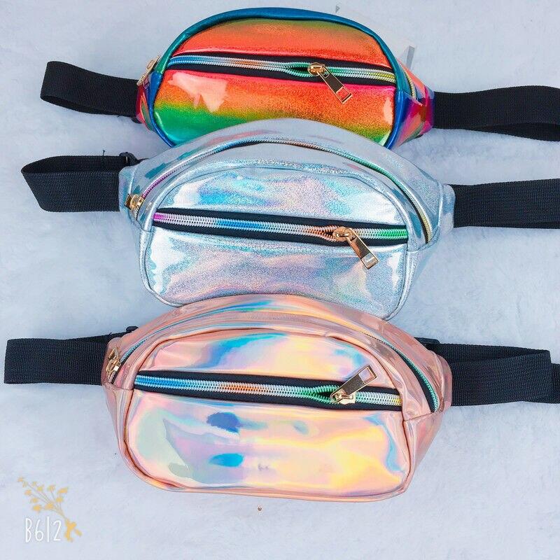 Rainbow STRIPED SEQUIN Bum Bag Festival Fanny Pack Bum Bag Money Pouch Belt