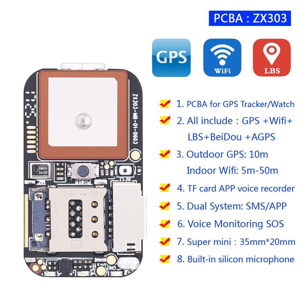 Nova ZX303 PCBA GPS Rastreador GSM GPS Wifi Web APP Rastreamento LBS Localizador Alarme SOS Cartão TF Gravador de Voz SMS coordenar Sistema Dual