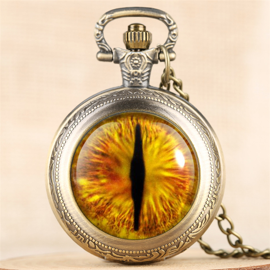Mystical Eye Design Quartz Pocket Watch Unique Necklace Clock Vintage Cool Men Women Pendant Watches New Arrival 2019