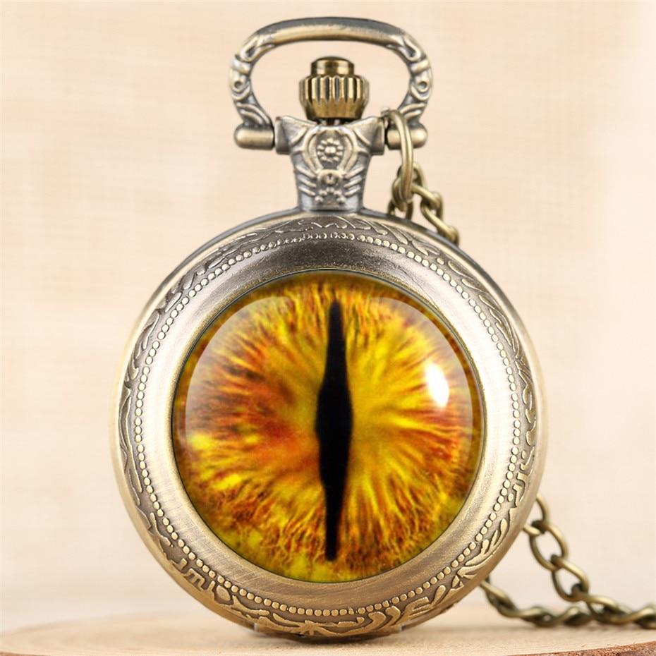 Mystical Eye Design Quartz Pocket Watch Unique Necklace Clock Vintage Cool Men Women Pendant Watches New Arrival 2019