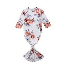 Одежда для сна с цветочным принтом для новорожденных и маленьких девочек, пижама, халат, одежда из хлопка для детей 0-6 месяцев