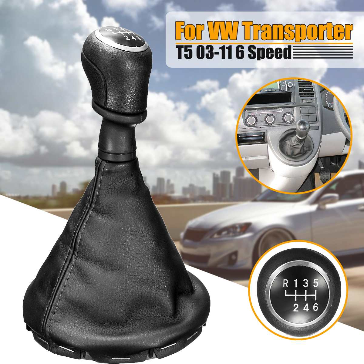 2003-2011 Manual 6 Speed Gear Shift Knob Gaiter Boot Cover Kit Black Leather Car Gear Stick Knob Cover for Transporter T5//T6