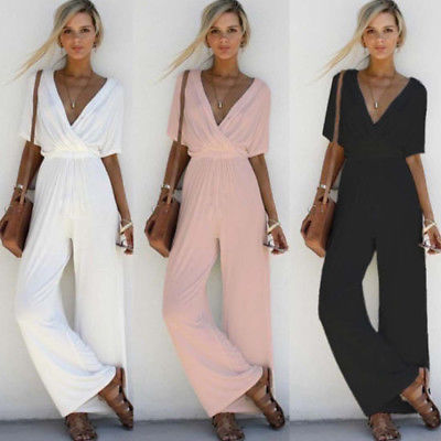 Arrival Women V Neck Loose Playsuit Party Ladies Bodysuits Jumpsuits Short Sleeve Long Jumpsuit S-XL