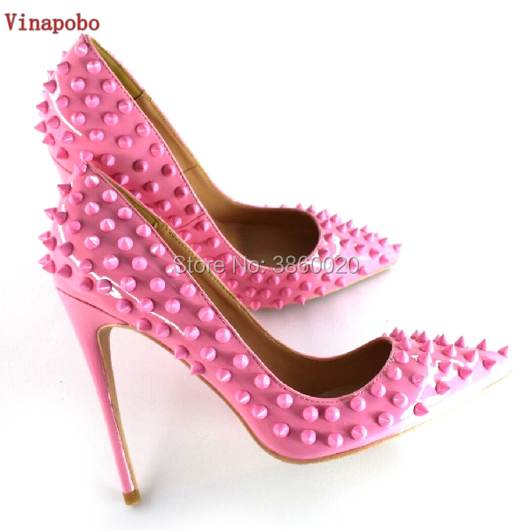 Vinapobo Super thin High Heels 8/10/12cm Women Pumps Pointed Toe Shoes Shallow Rivet Footwear Fashion Female Party Wedding Shoes