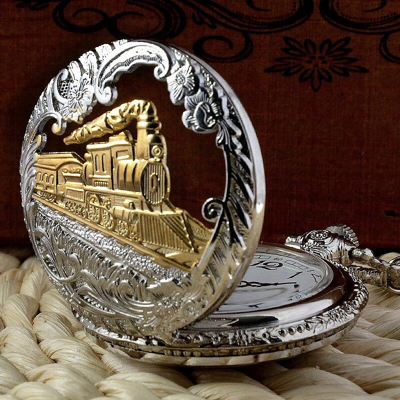 IBEINA Silver And Hollow Train Theme Full Hunter Quartz Engraved Fob Retro Pendant Pocket Watch Chain Gift
