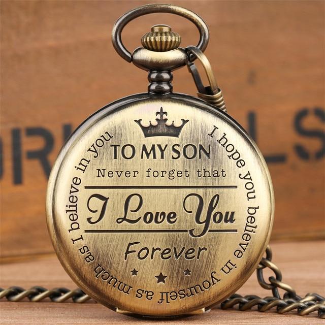 Bronze Customized To My Son Quartz Pocket Watch Vintage Roman Numeral Display Pe