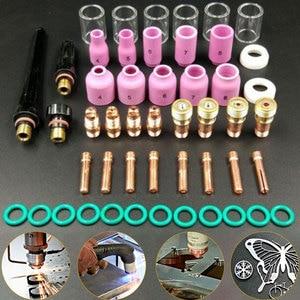 Image 1 - 49pcs 부품 가스 렌즈 + #10 pyrex 유리 컵 easy use 용접 토치 키트 wp tig 17/18/26 용 실용 액세서리 모듬