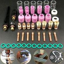 49pcs חלקי גז עדשה + #10 פיירקס זכוכית כוס שימוש קל ריתוך לפיד ערכת מגוון מעשי אביזרי עבור WP TIG 17/18/26