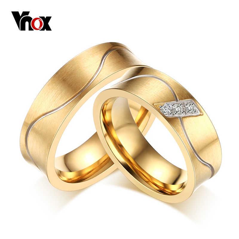 V noxอินเทรนด์แหวนหมั้นงานแต่งงานสำหรับผู้หญิง/ผู้ชายทอง-สีCZเพทายหิน