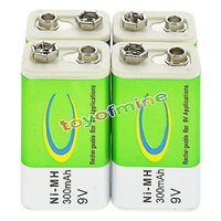 1-24pcs\/sets 9V 9 Volt 300mAh Green Ni-Mh Rechargeable Battery for Electronic Smoke Guitar