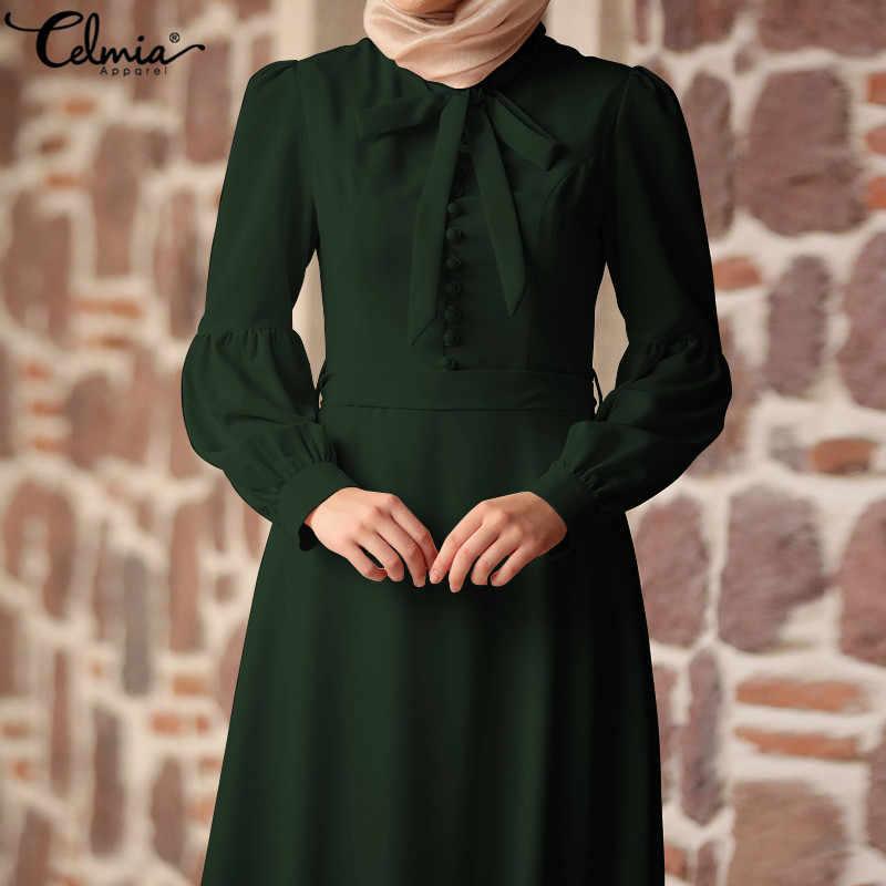 c60256d050872 Celmia Vintage Women Maxi Long Dress Elegant Katfan Islamic Ankle-length  Dress Tie Belted Evening Party Vestidos Mujer Plus Size
