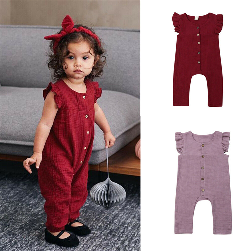 2019 Summer Newborn Kid Girl   Rompers   Infant Summer Outfit Solid Sleeveless   Romper   Jumpsuit Bebe Girl Carters Casual Playsuits