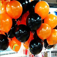 100 piece Halloween Balloon combo 10 inch 2.3 grams of inferior smooth, Thick Decorative Balloons Orange and Black Balloons