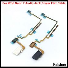 FaiShao 10pcs/lot New For iPod Nano 7 7th Gen White Black Headphone Audio Jack Power Volume Button Flex Cable Replacement