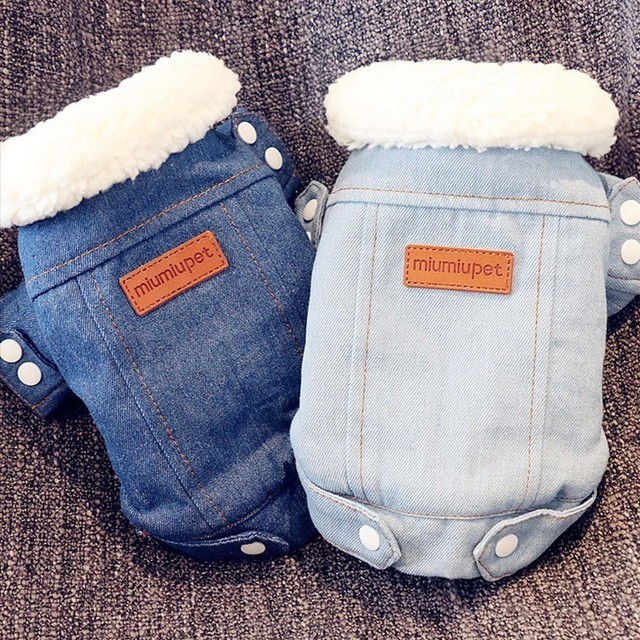 Luxury Denim Winter Jeans Jacket for Dogs and Puppies Chihuahua Poodle Bichon Clothing