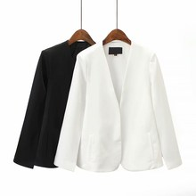New Arrival Spring Summer V-Neck Cloak Thin Coat Black/White Simple Split Design Loose Outerwear