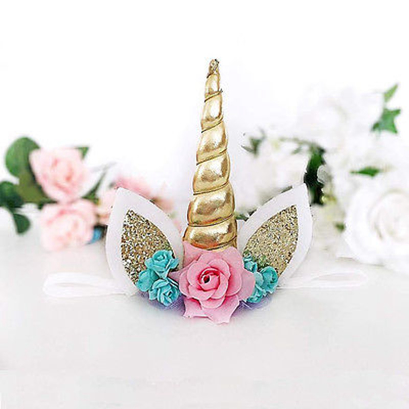 Magical Gold Cartoon Unicorn Horn Head Party Kids Baby Girls Headband Fancy Cosplay Decorative Photography Props Headwear