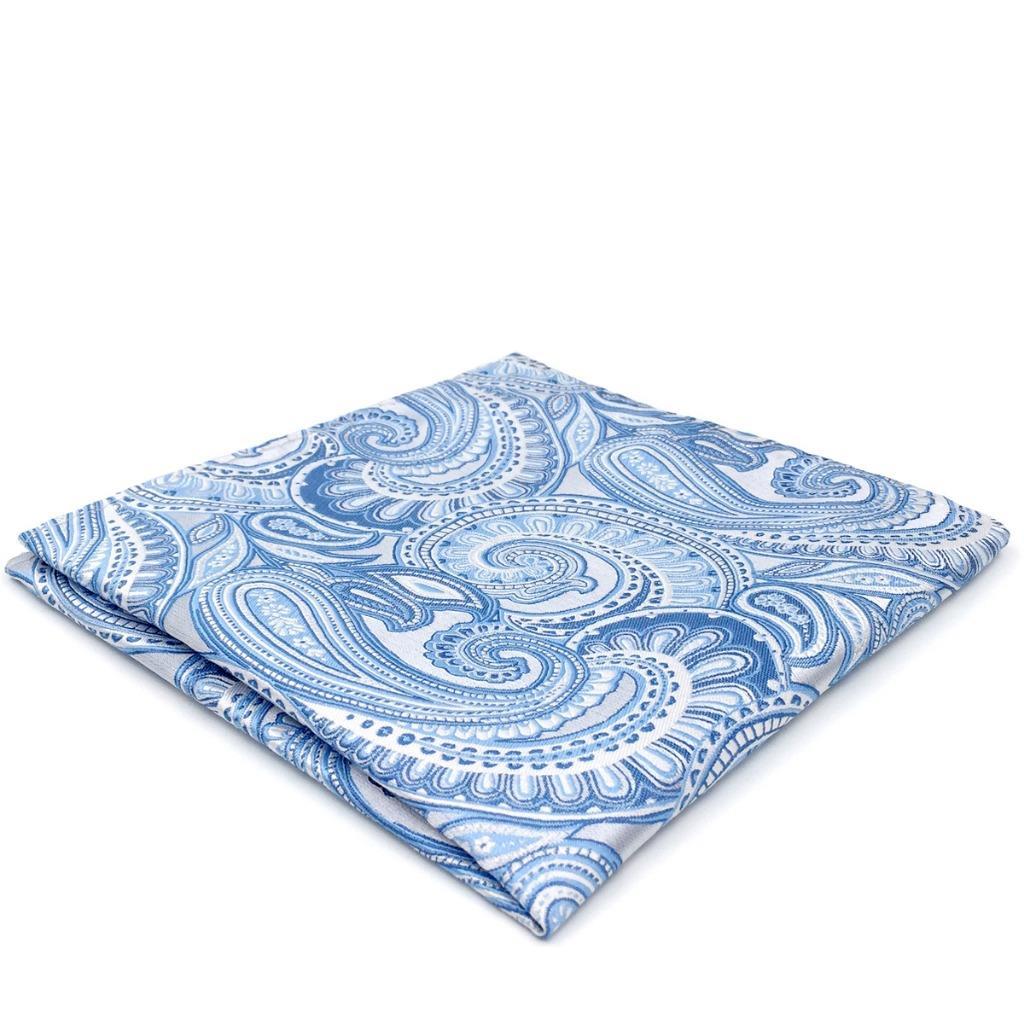 YH12 Paisley Mens Pocket Square Azure Silver Silk Jacquard Woven Fashion Brand New Hanky
