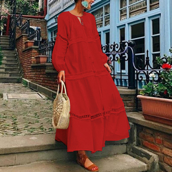VONDA Plus Size Bohemian Women Maxi Long Dress 2021 Spring V Neck Hollow Long Lantern Sleeve Autumn Dresses Casual Loose Vestido