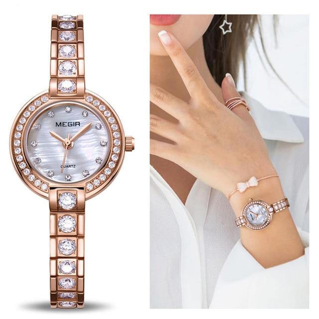 6a5c82d5f9e MEGIR Mulheres Pulseira Relógios Top Marca de Luxo Brass Rose Amante Relógio  de Senhoras Das Mulheres do Relógio À Prova D  Água Relogio feminino Montre  ...