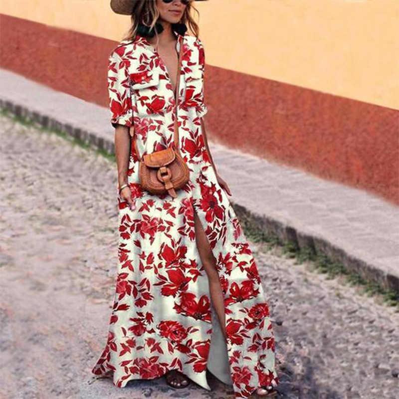 אביב סתיו מכירה לוהטת צבע פסים שמלת נשים מזדמנים כפתור שמלות לנשים אלגנטי Boho שמלת ארוך גדול גודל שמלות נשים