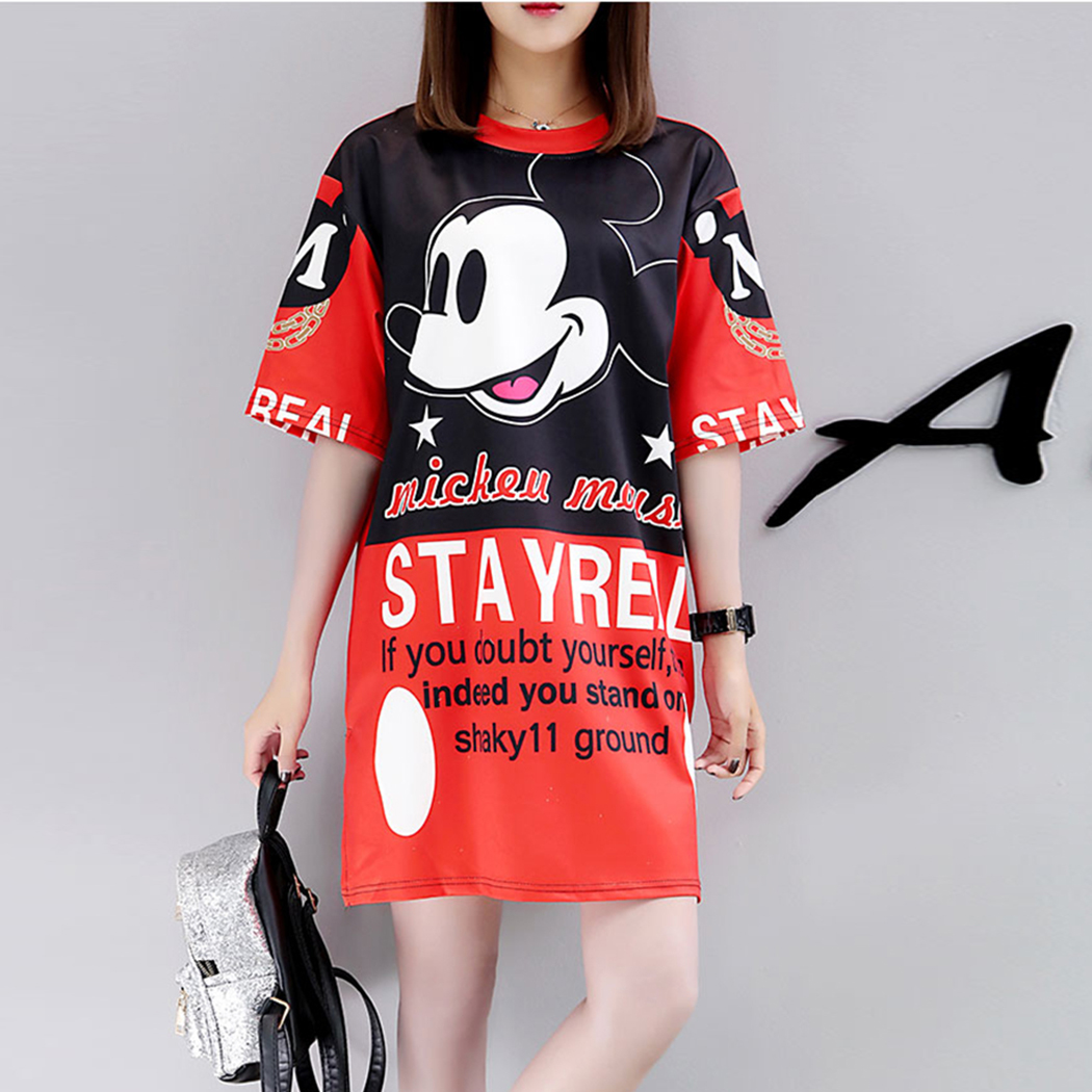 Dresses Competent New Summer Mickey Mouse Printed Cartoon Dress Women 2019 Half Sleeve Loose Dress Loose Vestidos Femme Outwear Robe Femme Dress Bright In Colour