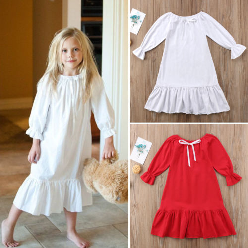 Emmababy Solid Flare Long Sleeve Dress For Toddler
