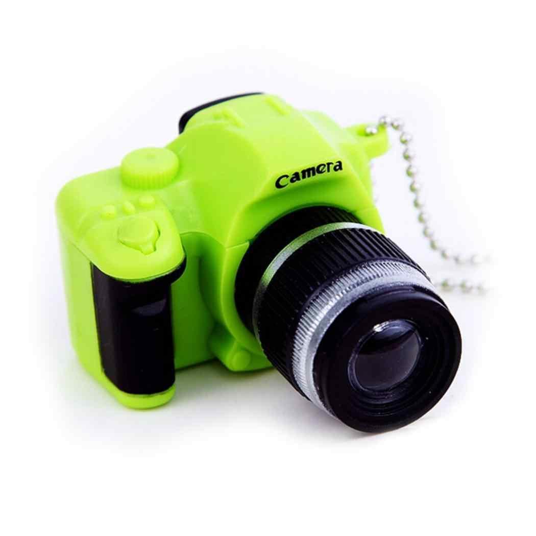 Rosa Retro Camera Chave Presente Cadeia Chaveiro Mini LED Forma de Charme Acessórios Saco Luz com Preto Verde Cinza Azul Amarelo