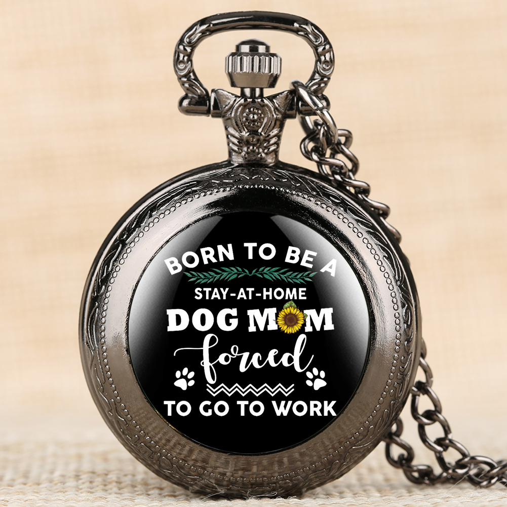 Creative Dog Mom Series Pocket Watch For Women Retro Pocket Watches For Female Quartz Pendant Watch Link Chain For Mom
