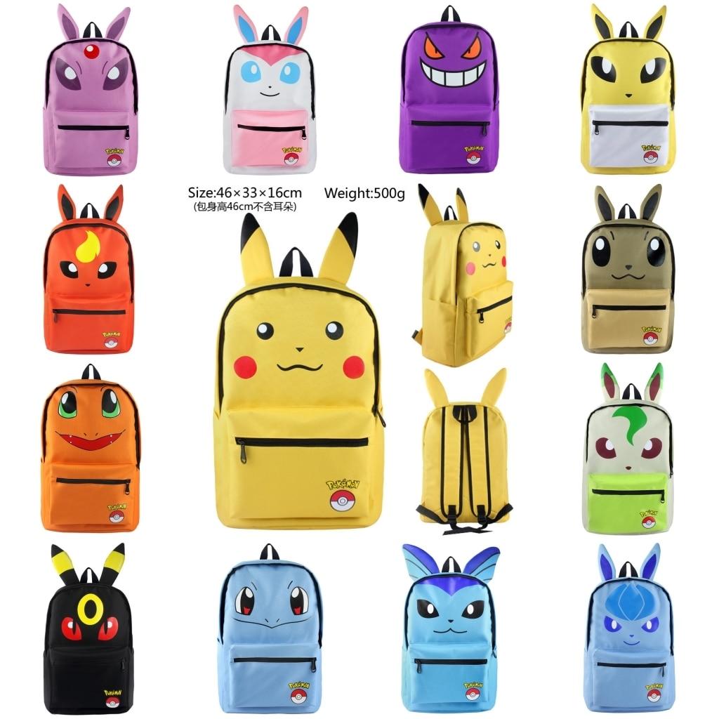 Hot Anime Pokemon Go Backpack Pocket Monster Pikachu Eevee Cosplay Backpack Canvas Shoulder Bag Cartoon Knapsack Rucksack