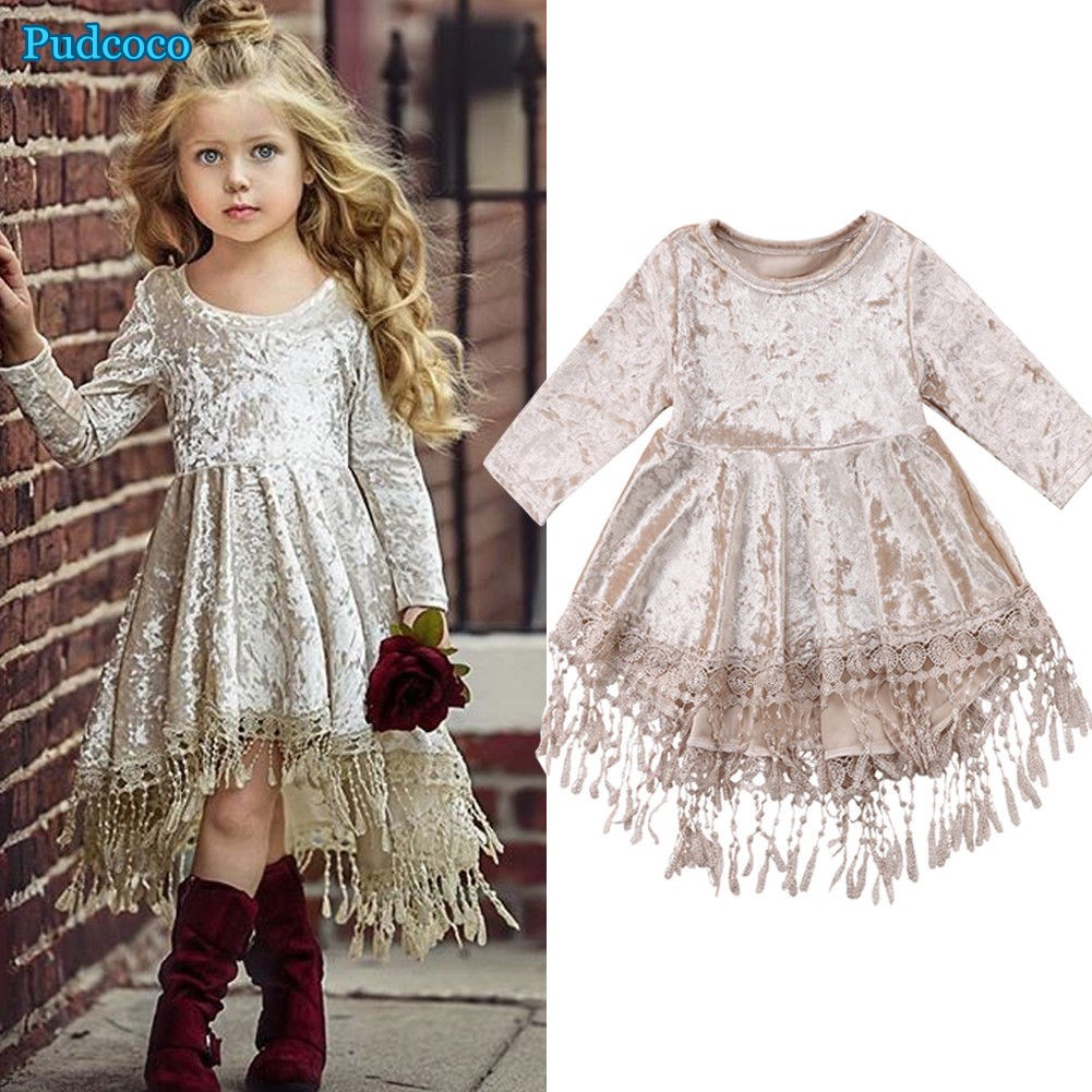 Pudcoco 2019 Brand New Flower Girl Dress Velvet Tassel Princess Baby Party Pageant Gown Formal Dress Платье