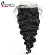 Beautiful Queen 10A Peruvian Human Hair 5x5 Loose Wave Lace Closure Free Part Lace Closure Pre Plucked Virgin Hair Free Shipping(China)