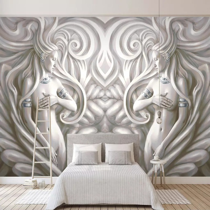 Custom Mural Wallpaper Papel De Parede 3D European Style Embossed Beauty Sculpture Modern Living Room TV Backdrop Wall Painting