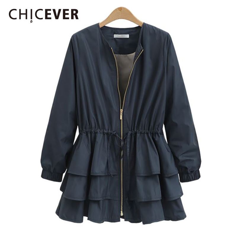 CHICEVER 2019 Spring Trench Coat For Women Windbreaker Long Sleeve Loose Big Size Zipper Drawstring Plus Size Basic Coats New