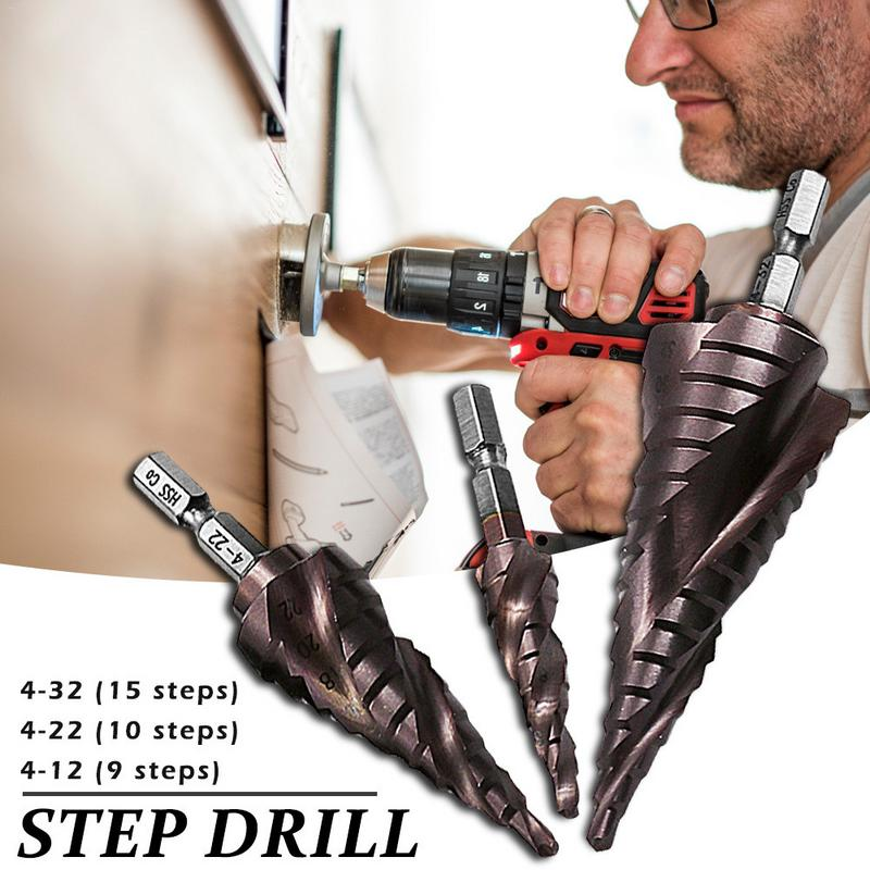 Three-blade Hex Shank With Cobalt Spiral Groove Stainless Steel Step Drill