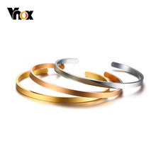 Vnox Temperament Thin Bangle For Women Multi Color Stainless Steel Elegant Female Lady Party Street Jewelry(China)