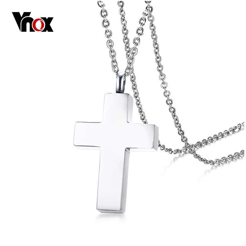 Vnox Cross Pendant Necklace for Women Men Jewelry Classical Stainless Steel Can Be Opened  Lover's Promise Necklace