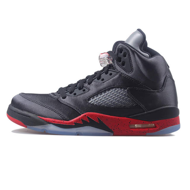 low priced 527d9 f83ee US $56.91 49% OFF|Air US Jordan Retro 5 OG Black Metallic Silver PSG bred  Men Basketball Shoes Red Blue Suede Sports Sneakers Shoe-in Basketball  Shoes ...
