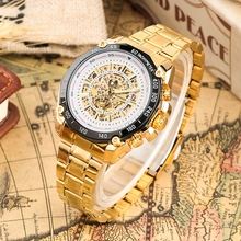 цены WINNER Top Luxury Automatic Mechanical Watches Men Sport Watch Men's Gold Skeleton Watch Military Wrist Watch Male Clock 2019