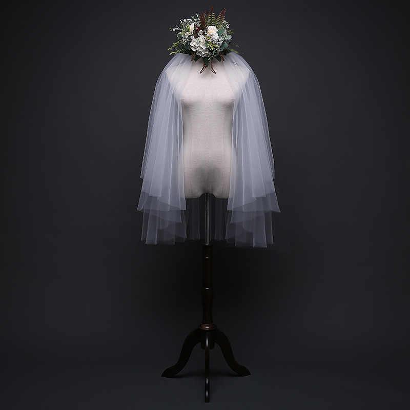 平野糸ショートブライダルベールホワイト/アイボリー二層結婚式ベイル Velos デ · ノビアラルゴ EE711