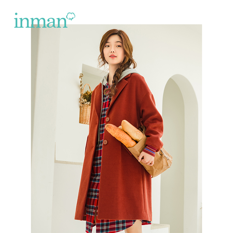 INMAN Winter New Arrival Lapel Loose Casual Wild Models Woman Wool Coat