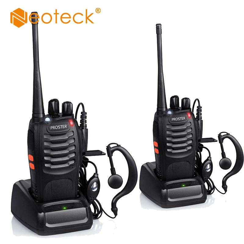 Neoteck 2pcs Walkie Talkie UHF 400-470MHZ 5W 16CH 2-Way Radio BF-888S Portable Radio UHF Portable Transceiver With Earpiece