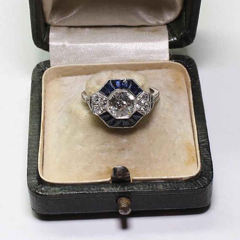 Art Deco 2.45CT Blu Gemme di Nozze Anello di Fidanzamento Sz 6-10 Blu Zircone Bianco a Mano Ornamento