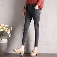 Spring Autumn Women Casual All match Boyfriend Denim Pants Washed Trousers Harem Pants For Students Female