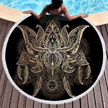 Black Gold Round Beach Towel Tassels Lotus Mandala Printed Bath Towels For Adults Kids Summer Sports Microfiber Towel 150cm Yoga недорго, оригинальная цена