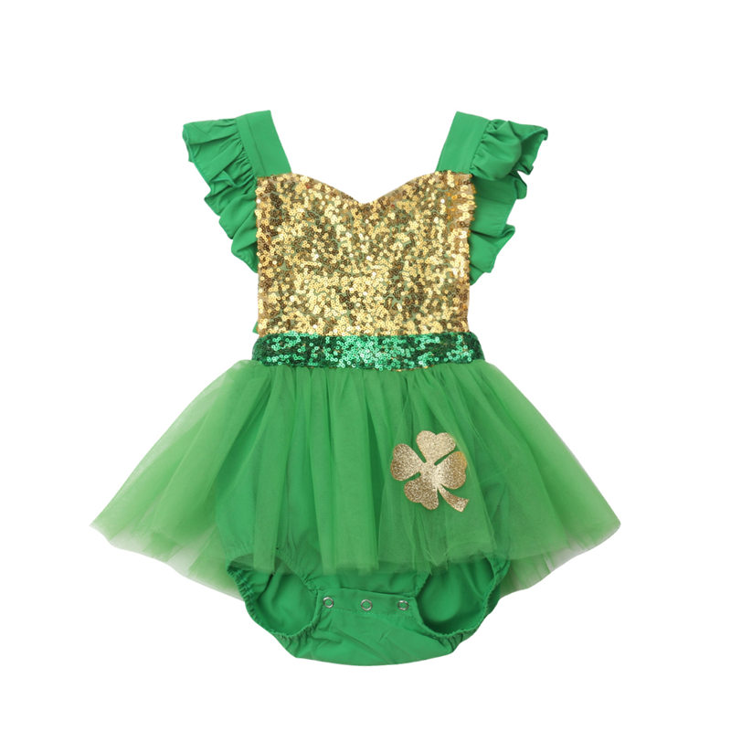 2019 Toddler Baby Girl Bodysuit Dress Party Princess Kid Outfit Infant Sequin Ruffles Tulle Jumpsuit Dress Children Clothes