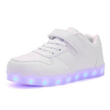 New USB Charging Glowing Shoes Children LED Light Shoes Boys Girls Luminous Dance Flats Student Sneakers Sports Shoes Kids 02B