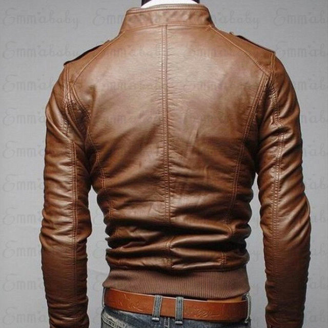 Mens Classic Motorcycle Leather Jacket 4